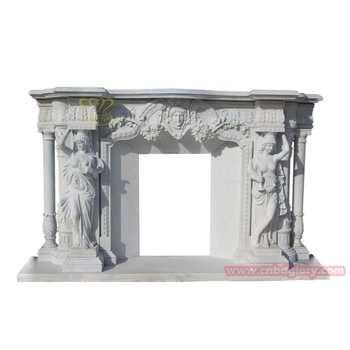 Custom Design Lady Statue Column Large Marble Fireplace