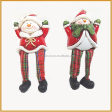 small sitting ceramic christmas santa claus figurine for outdoor decoration