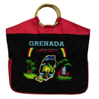 Bamboo handle Grenada souvenir shopping bag