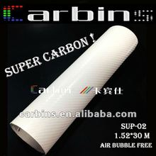 New Carbon! Super Glossy 4D Carbon Fiber Vinyl For Car Wrap Pure White!