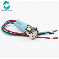 16mm Ring LED 5-380V 12V 6V Self-lock Momentary Latching Waterproof Car Auto Engine Metal Annular Push Button Switch with socket