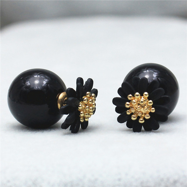 2015 new hot design fashion brand jewelry Flowers stud earrings double Imitation pearls style Statement Daisy earring for women