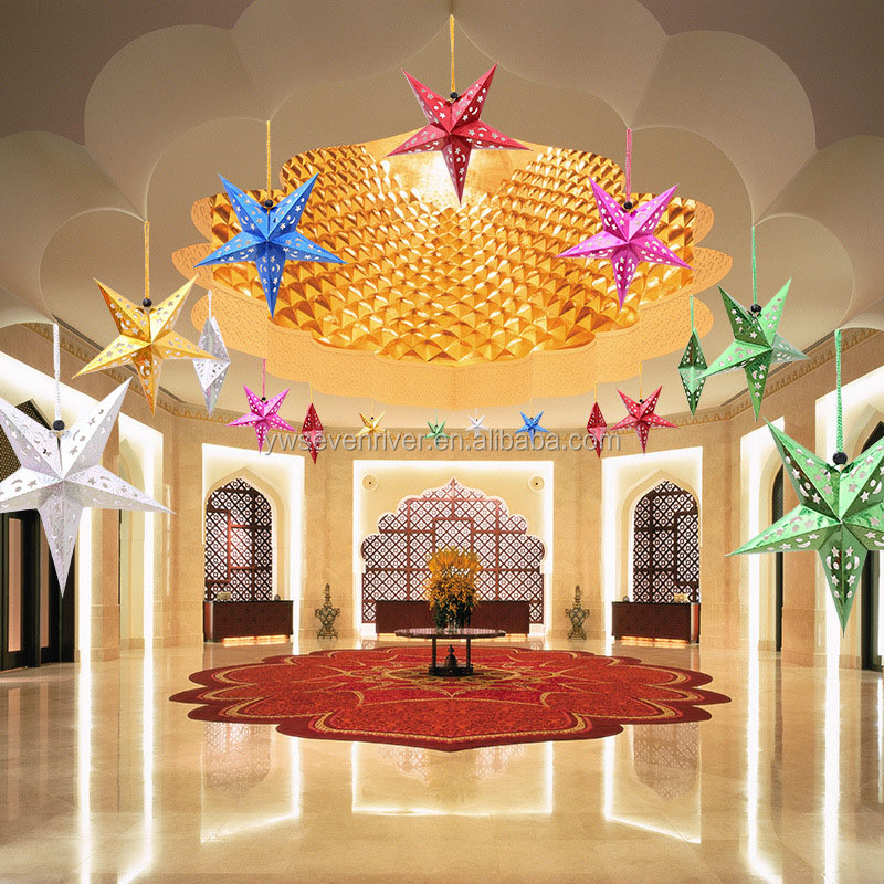 Christmas decorations colorful hanging folding 3D paper christmas star