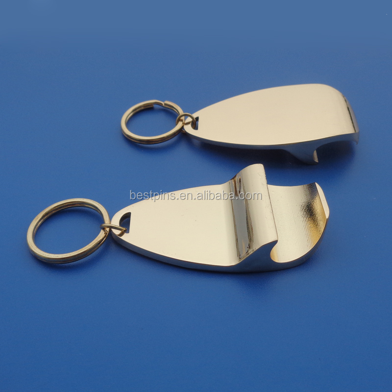 Blank Metal Promotional Beer Gold Keychain Opener Made in China