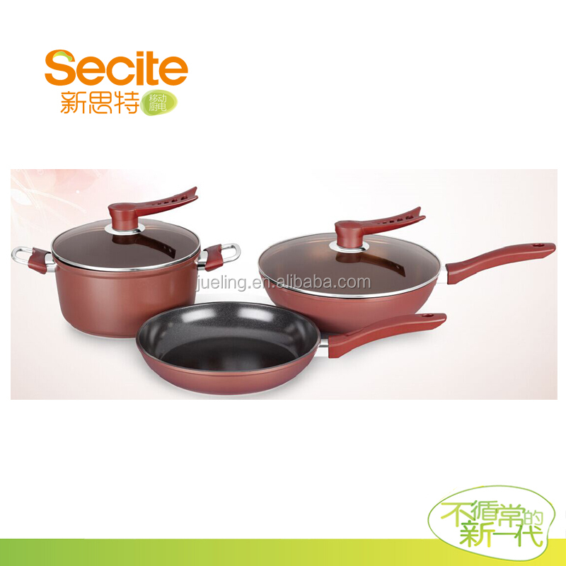 Die casting aluminium red cookware sets colorful and new for Buy kitchen cookware
