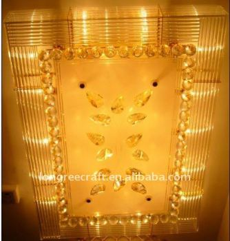 Rectangle Crystal Ceiling Pendant Led Light LRC007
