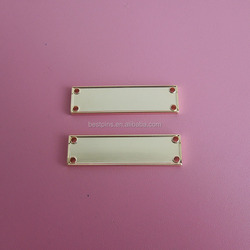 rectangle shape blank gold bag plate