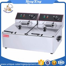 HEF-6L-2 2Tank 2Basket El industrial commercial stainless steel electric potatochips fish deep chip fryer basket machine price