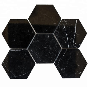 Decorstone24 Chinese Nero Marquina Black Marble Tile With White Veins Mosaic Hexagonal