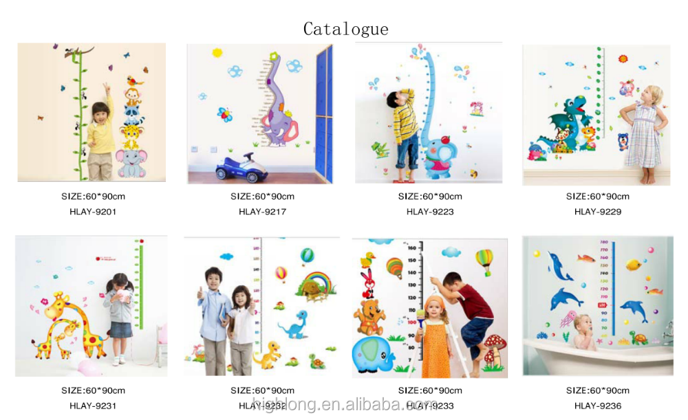 Cute Cartoon l Vinyl Sticker New Design For Promation Gift Waterproof Die-Cut Sheet Growth Chart