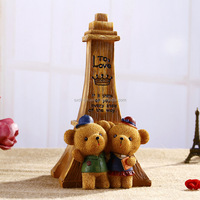 lovers bear Iron tower polyresin Piggy Bank crafts for home decoration