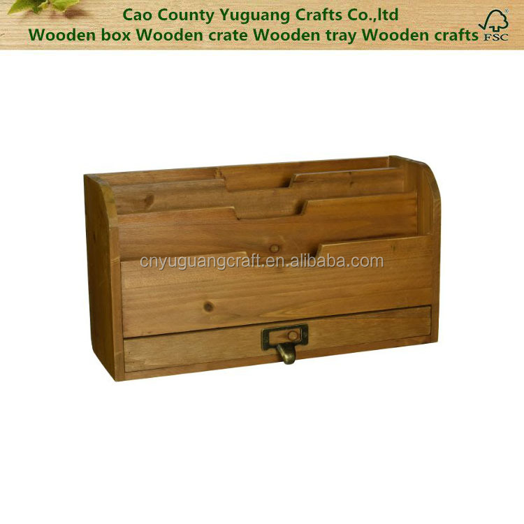 Rustic wood finished Tier Country Rustic Vintage Wood Office Desk File Organizer Mail Sorter Tray Holder w Storage Drawer