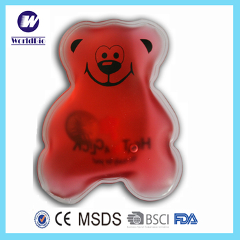 PVC cartoon bear shape gel heat pack for children promotional items