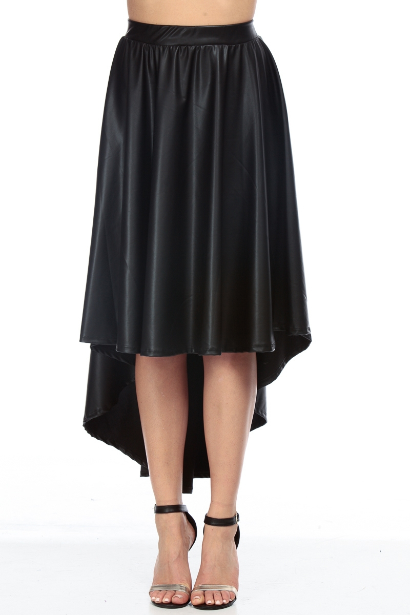 wholesale faux leather skirt black high low midi skirt