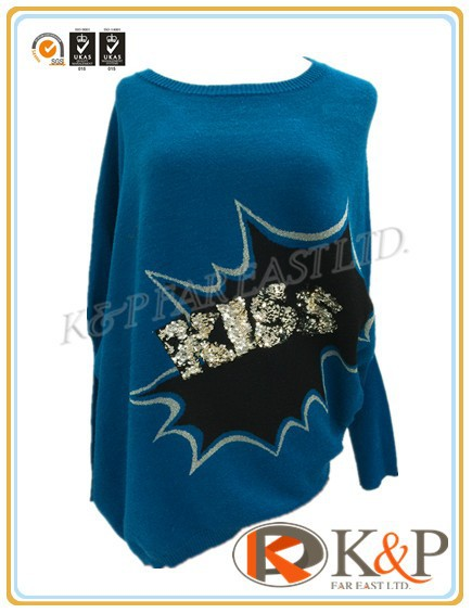 High quality knitted FW stylish 12 gg multi-colour wool beading & sequining round neck Ladies Sweater