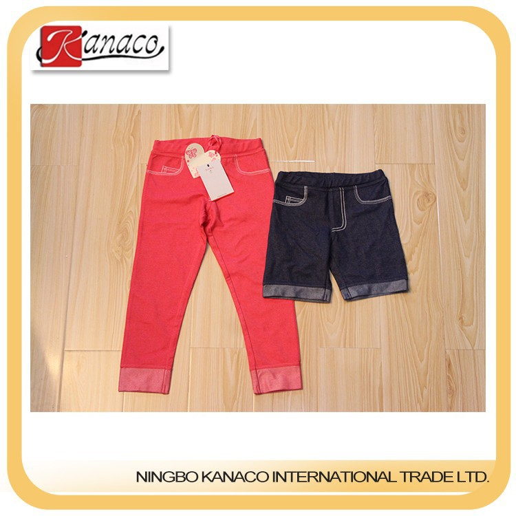 Hot sale top quality best price clothes girl kids legging shorts denim look