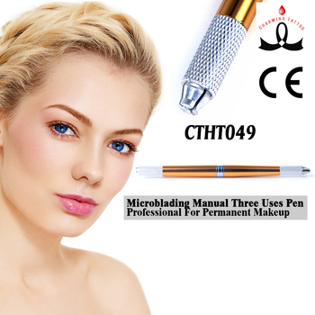 Microblading permanent makeup three uses metal pen for eyebrow embroideried