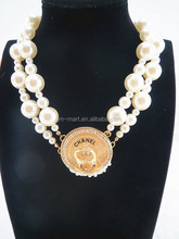 Fashion Glitter Gold Metail Chain Pearl Necklace for Girl Decoration