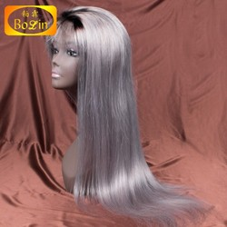 Cheap wholesale price 100% human brazilian hair ombre color full lace wig 1b grey