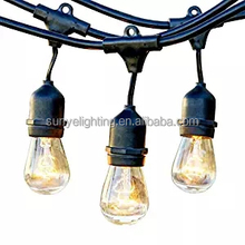 Outdoor Weatherproof Commercial LED String Light with Hanging Sockets S14 Incandescent Bulbs Included, 48 Foot Outdoor String