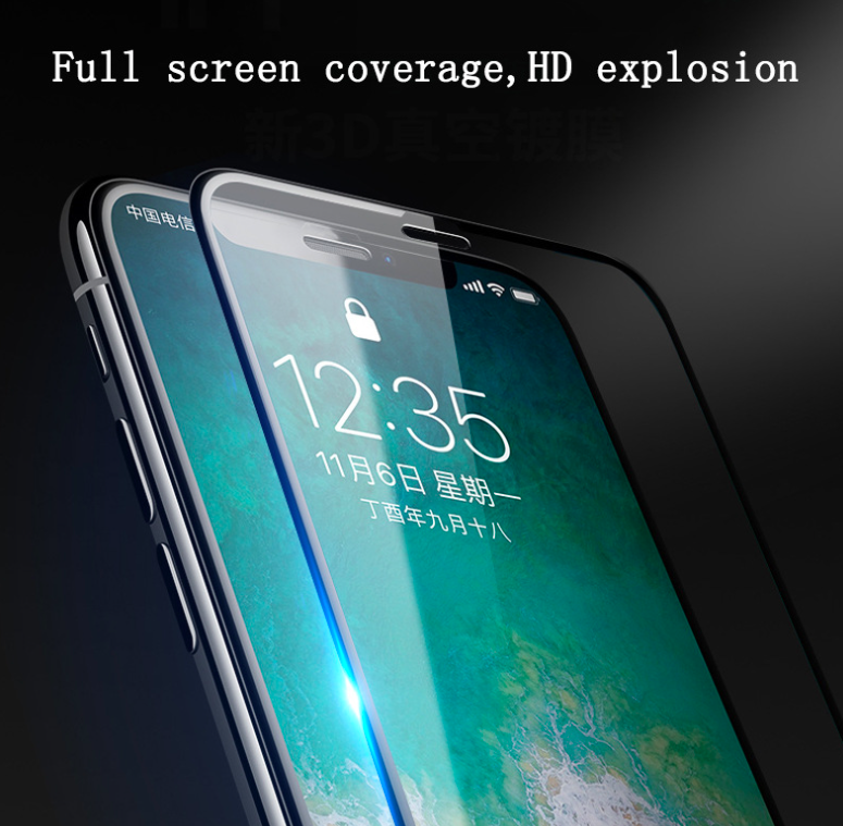 Invisibility Full Size Curved Coverage Tempered Glass Screen Protector For iphone x