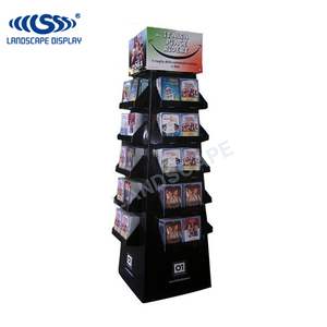 New design cardboard CD display stand / cardboard display rack for DVD / floor display shelf for CD