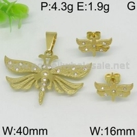 New Stainless Steel Jewel Unisex Fashion gold plated butterfly love bird jewelry with CZ