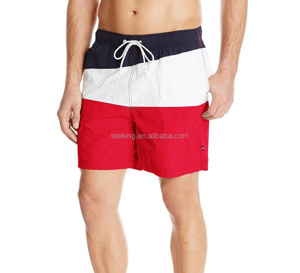 Custom quick dry color block swim shorts design