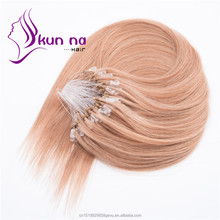 Remy human hair virgin brazilian micro loop ring hair extension