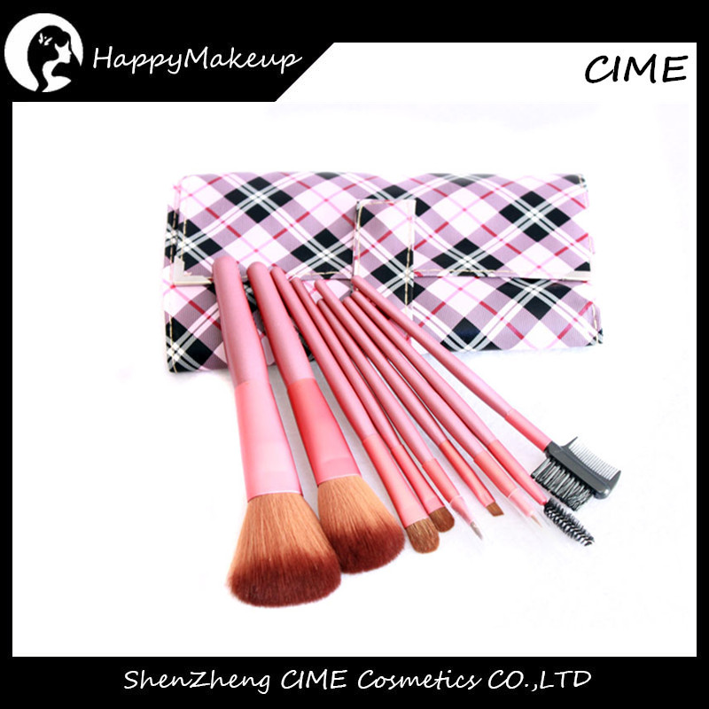 Pro Shenzhen Cosmetics Brush Set 9pcs Synthetic Hair Plaid Makeup Sets Cosmetic