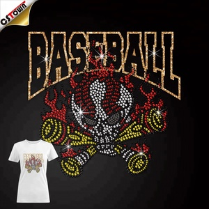 Wholesale custom rhinestone Rhinestone Skull & Baseball Design Hotfix Transfer sports designs for T-shirts