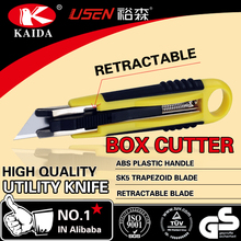 Plastic rubber grip handle Auto Retractable Safety Box Cutter