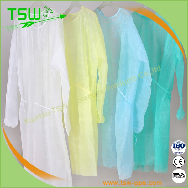 Surgical supply/disposable blue PP non-woven isolation gown with knitted cuff and waist tapes