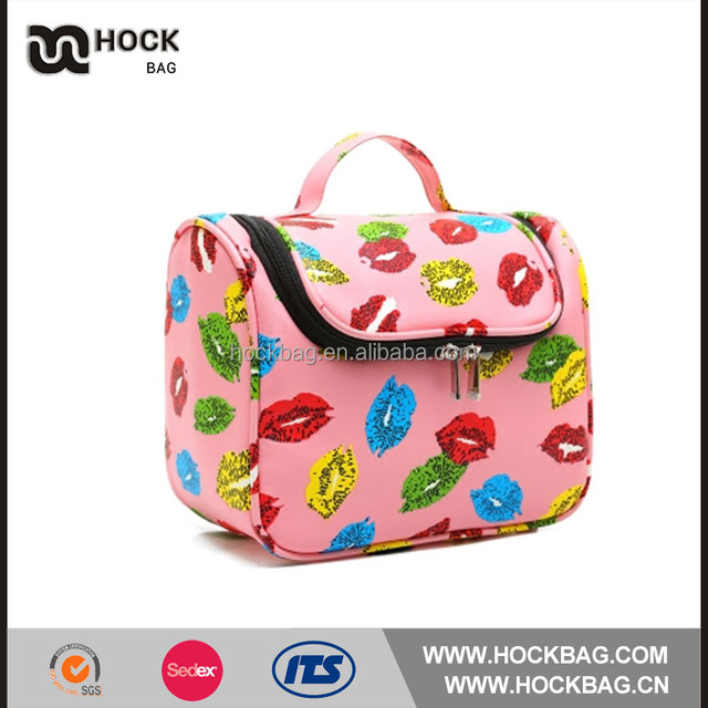 China wholesale factory direct pink hanging cosmetic bag