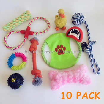 Wholesale cheap puppy dog toys 10 pack play set 2017 Brand LOGO durable squeaky cotton ropt pet dog chew toy