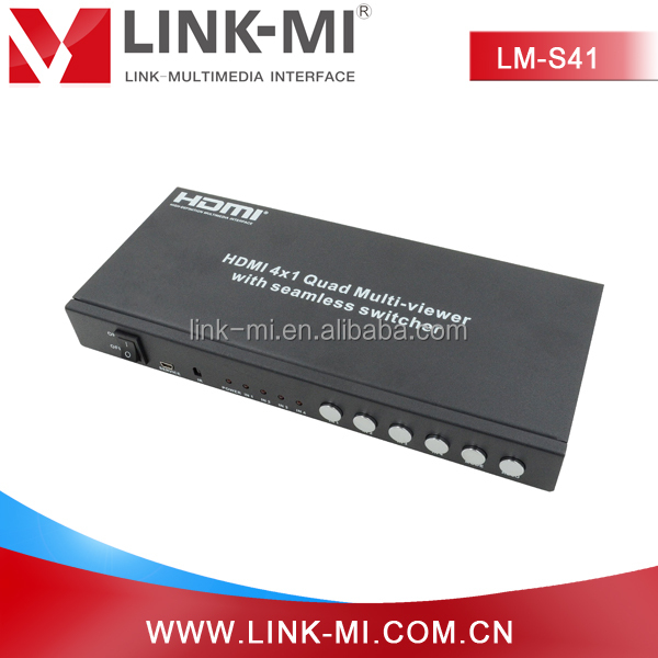 LM-S41 RS232 Control 4 by 1 HDMI Quad Multiviewer With Seamless Switcher