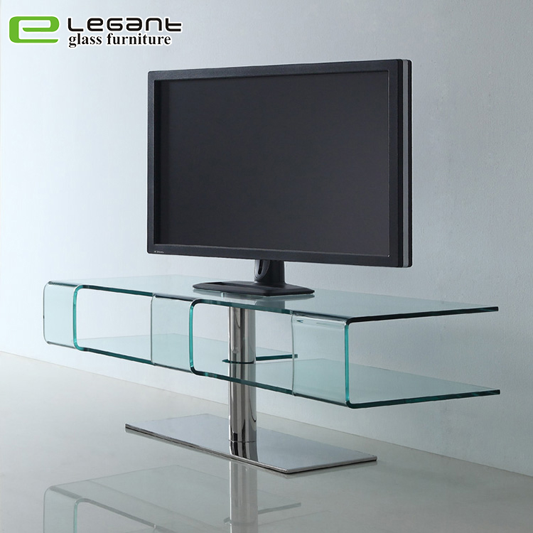 Modern Clear Bent Glass TV Stand on Stainless Steel Base