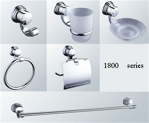 New Simple Modern Design 6 pcs Zinc Alloy Chrome Square Bathroom Accessory Set