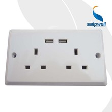 Saipwell CE Certificated Home Use USB 13 Amp Socket Professional Manufacture Power Outlet USB Plug Outlet