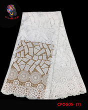 Gzmadison CPOG05-7 Guangzhou factory new arriva cord lace design african guipure lace fabric/white wedding dress lace