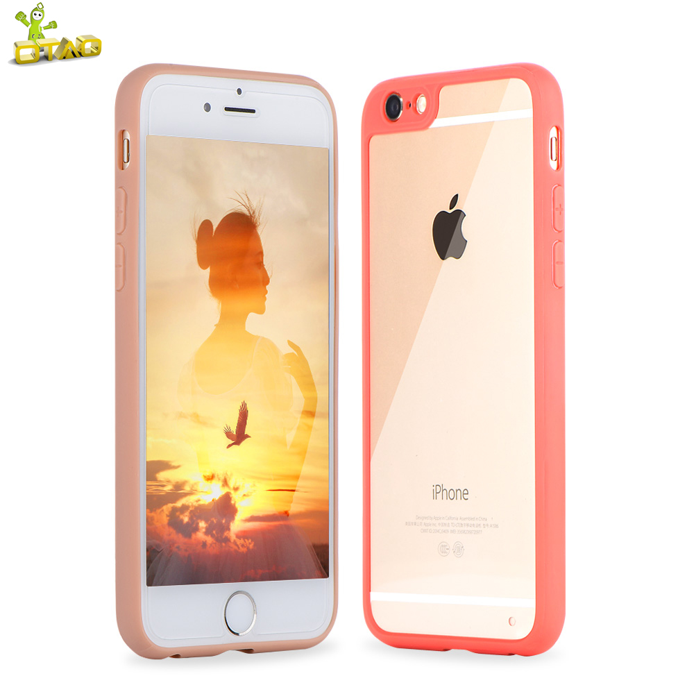 OTAO Phone Bag Case For iPhone 6 6S Acrylic Candy Color Ultra-Thin Soft Silicon Back Cover Transparent Plain Case