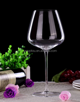 Customize clear crystal wine glass with long stem/goblet