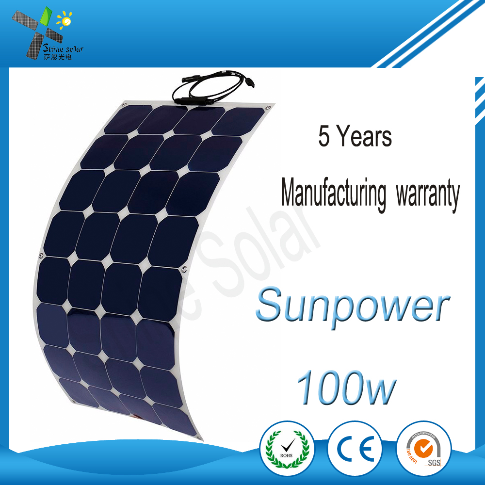 100W SunPower Flexible Solar Panel PV Module Made of High Efficiency Strong Performance SunPower Solar Cells