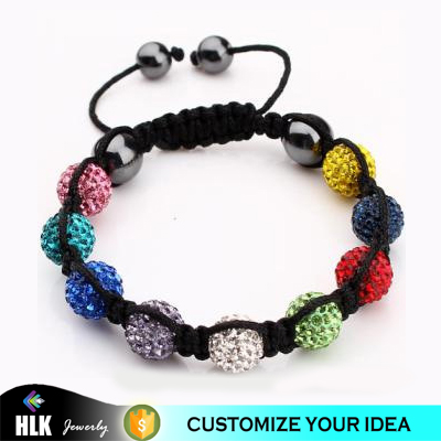 Braided Beaded Color Clay Crystal Disco Ball Handmade Customized Jewelry Bracelets