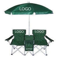 Promotional Folding Beach/Camping/ Patio Double Chair With Umbrella And Cooler Bag