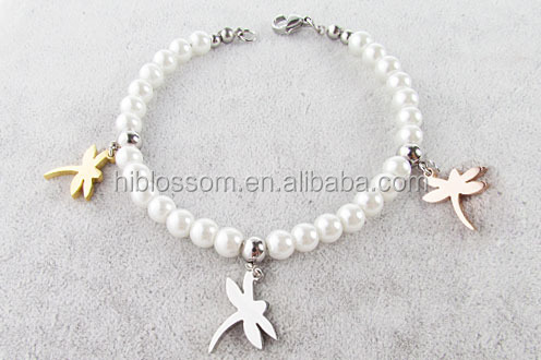 fashion pearl bracelet design stainless steel jewelry beaded barcelet with dragonfly