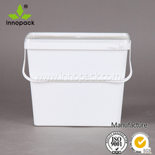 9L square clear plastic buckets with lids plastic pail