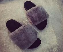 Women's Fashion Toe Indoor & Outdoor Slides Slip On Flat Sandals Cute Soft fur Slippers