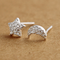 topping gifts rich of cz diamond moon and star sterling silver stud ear ring gold field korea jewelry
