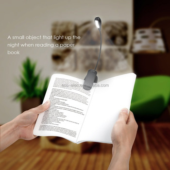 Rechargeable Book Light, 4 LED Reading Light, Reading Lamp with Clip On 2 Brightness Settings with USB Cable for Desk, Bed